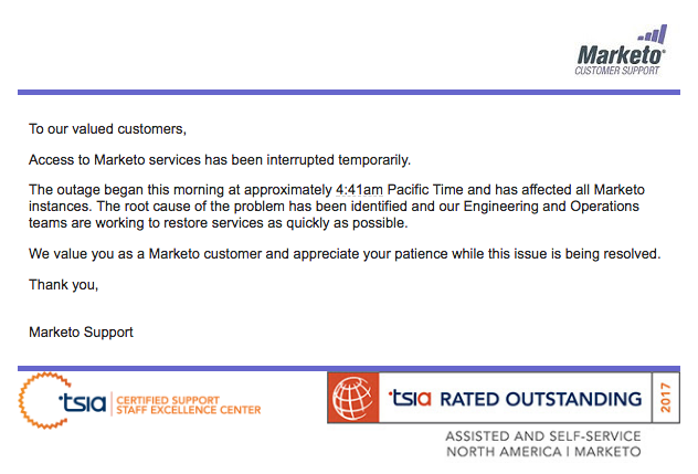 marketo outage support email