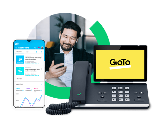 Four screens floating at a thirty degree angle with the user interfaces and logos for the following products (from left to right, top to bottom): LastPass, GoToAssist, GoToConnect, GoToWebinar.