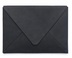 russell+hazel black leather envelope laptop portfolio