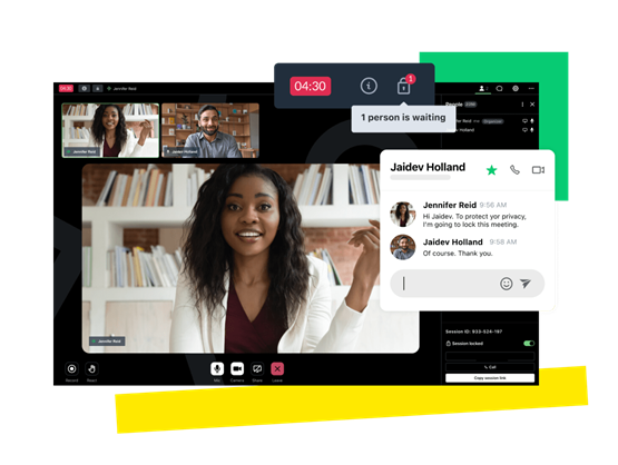 A lawyer and client GoTo video call meeting with a lock icon and a text bubble that says, 'Hi Angela. To protect your privacy I'm going to lock this meeting.'