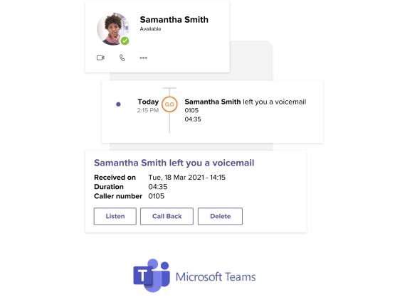A Microsoft Teams profile card with the user Samantha Smith's information. There is a rectangle below the profile card with the Microsoft Teams call histroy user interface populated with 'Samantha Smith left you a voicemail today at 2:15 PM'. Under the rectangle is another card from Microsoft Teams' user interface with details about Samantha Smith's voicemail, followed by the Microsoft Teams logo.